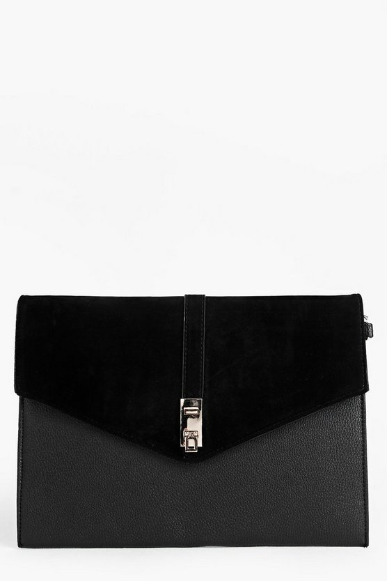 Ava Mix Fabric Metal Lock Clutch Bag