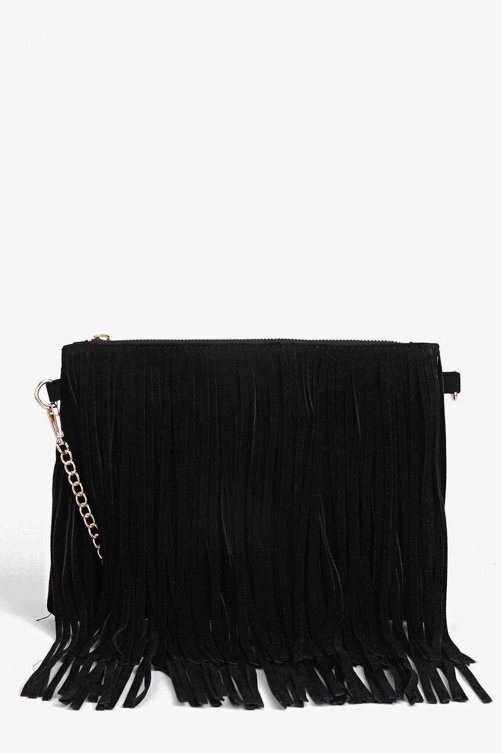 Fringed Loop Chain Strap Cross Body Bag - black -