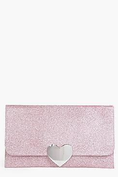 Lucy Heart Clasp Glitter Clutch Bag
