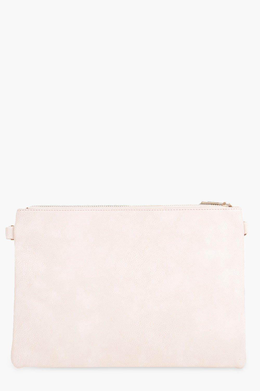 Zip Top Clutch Bag nude