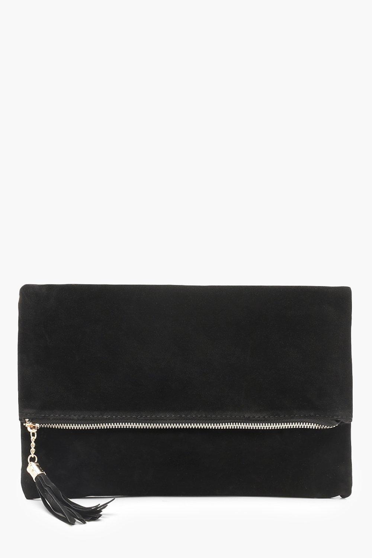 Suedette Fold Over Clutch Bag black