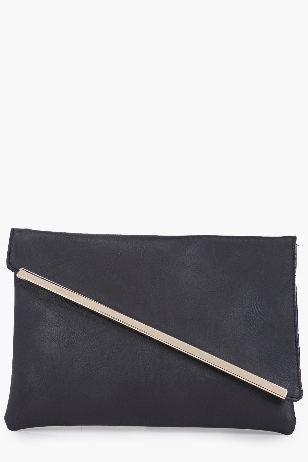 Fold Over Metal Detail Clutch Bag black