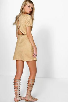 Liz Suedette Cross Back 1/2 Sleeve Dress