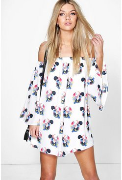 Isa Oriental Flower Bardot Detached Sleeve Dress