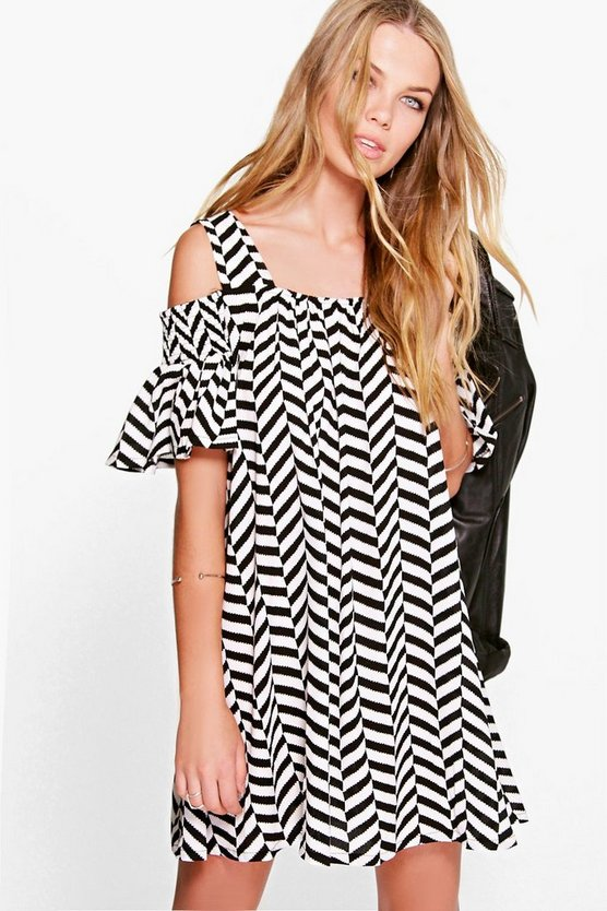Emily Zig-Zag Print Cold Shoulder Swing Dress