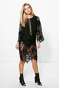 Ina Crochet Lace Kimono Sleeve Dress