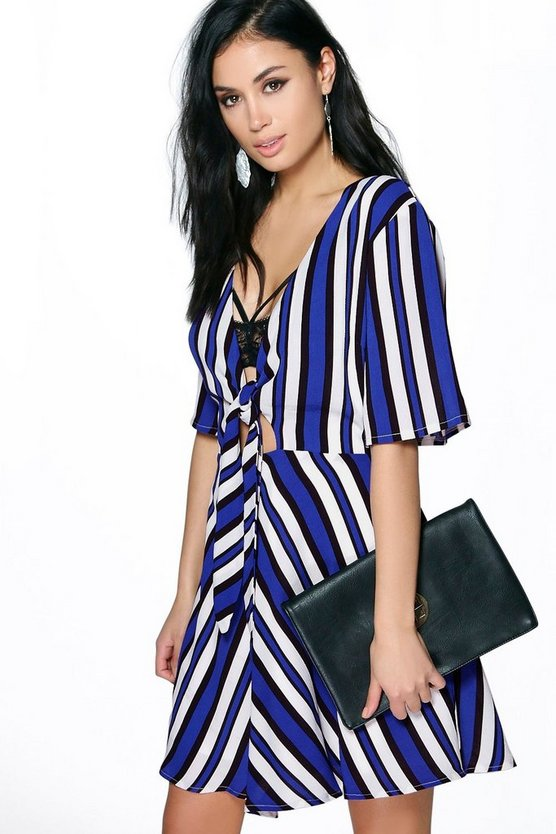 Liliane Stripped Tie Front 1/2 Sleeve Dress