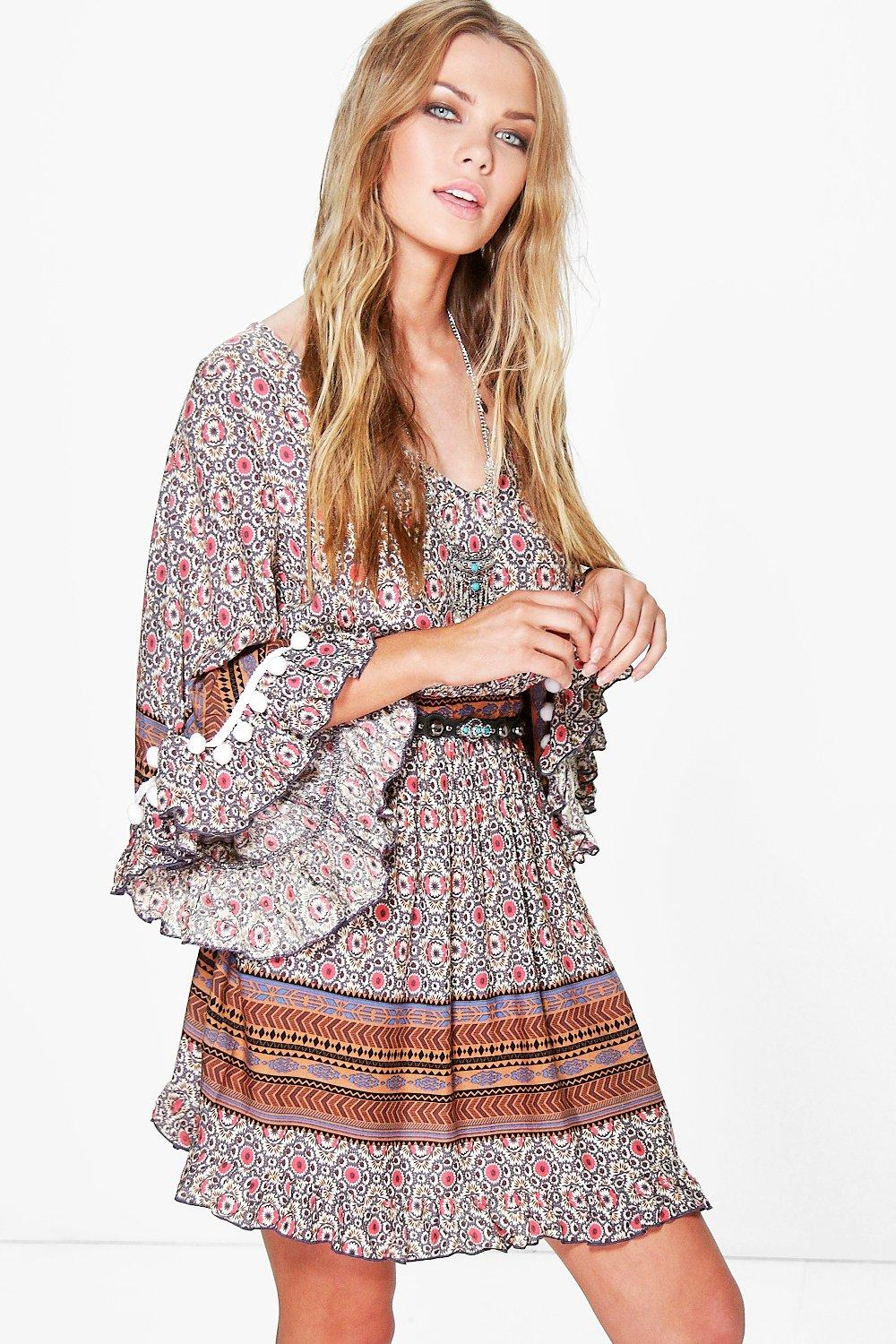 Anila Crochet Pom Pom Printed Smock Dress