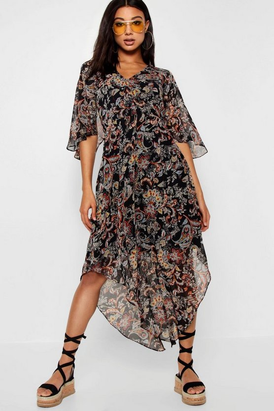 Hem Paisley Maxi Dress