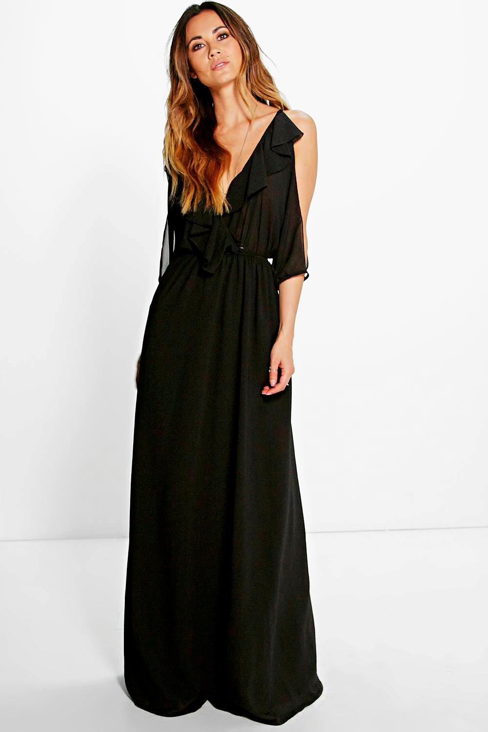 Raluk Ruffle Cold Shoulder Maxi Dresses