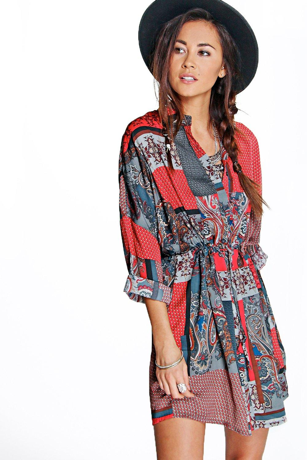 Millie Paisley Patchwork Shirt Dress