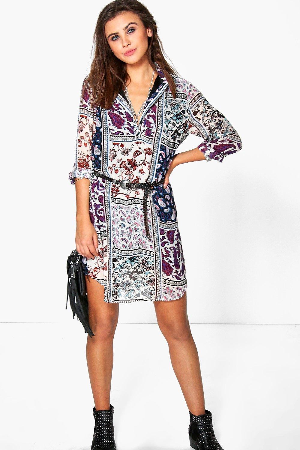 Kitana Paisley Patchwork Shirt Dress
