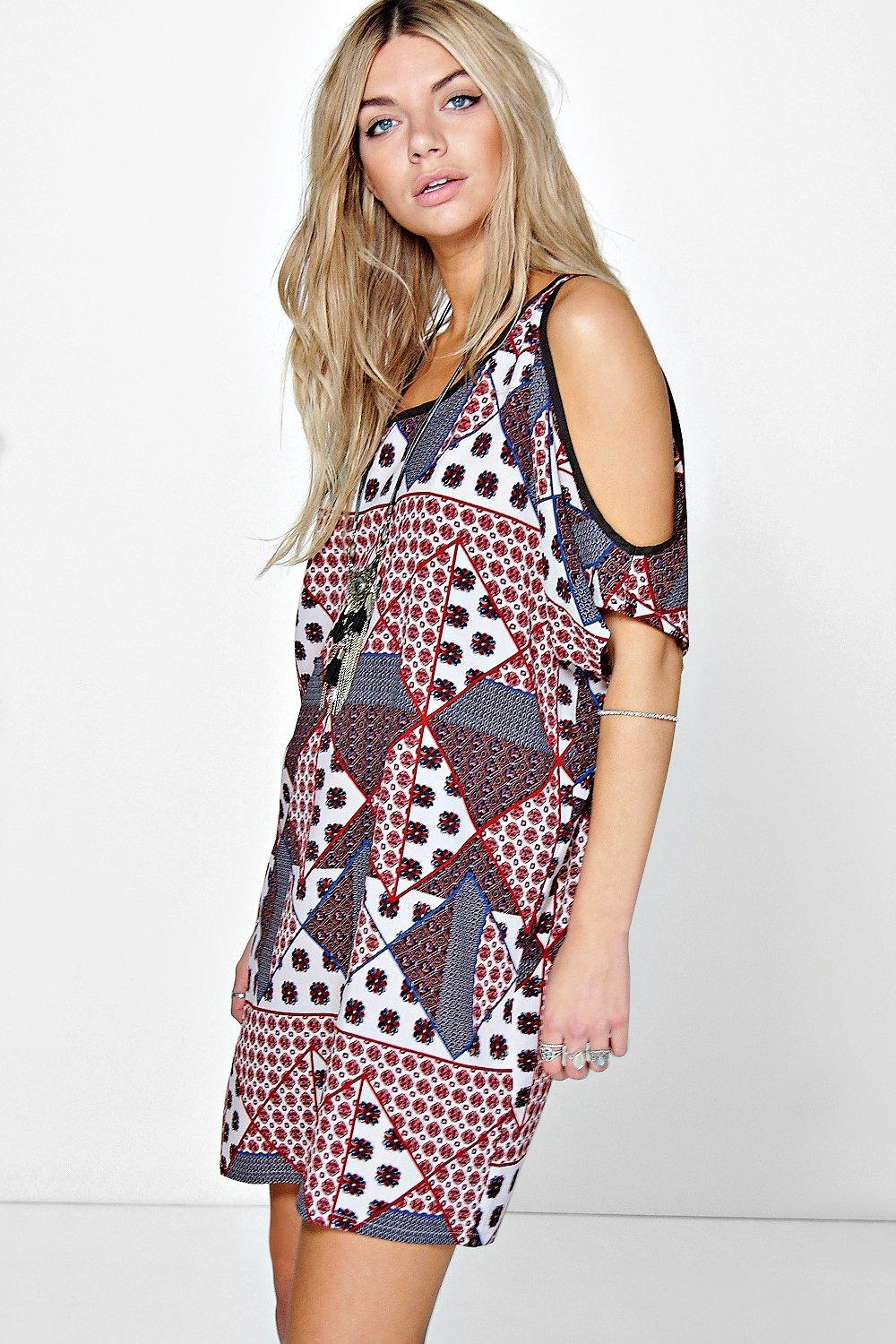Lizy Paisley Patchwork Open Shoulder Shift Dress