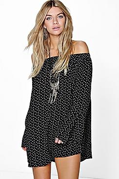 Catalina Off The Shoulder Feather Print Dress