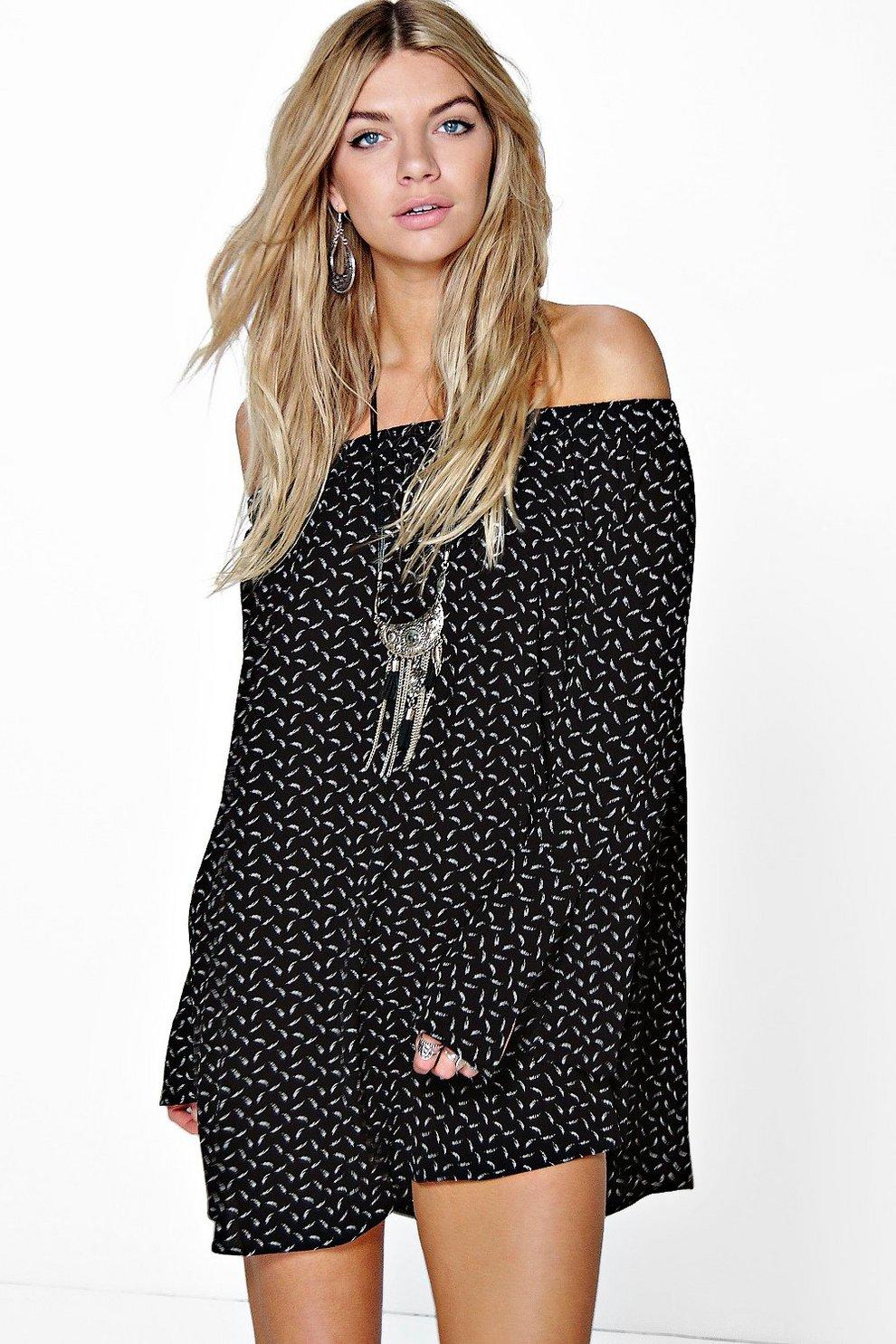 Catalina Schulterfreies Kleid mit Feder-Print | Boohoo