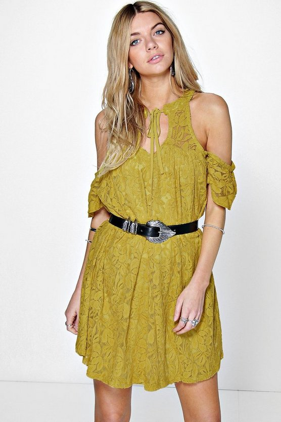 Milenna Lace Cold Shoulder Swing Dress