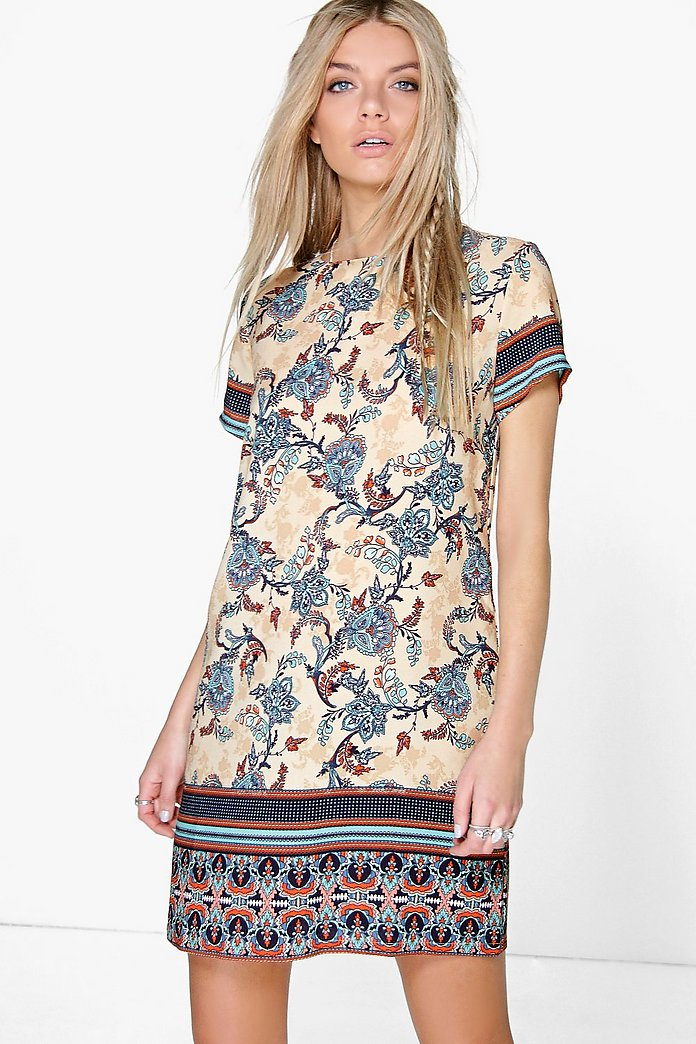 Belene Border Print Cap Sleeve Shift Dress