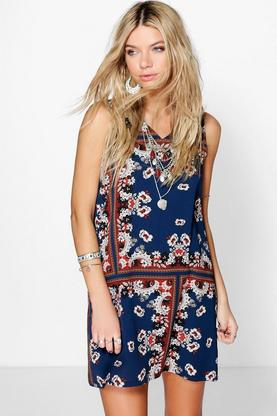 Vidma Floral Print Sleeveless Shift Dress
