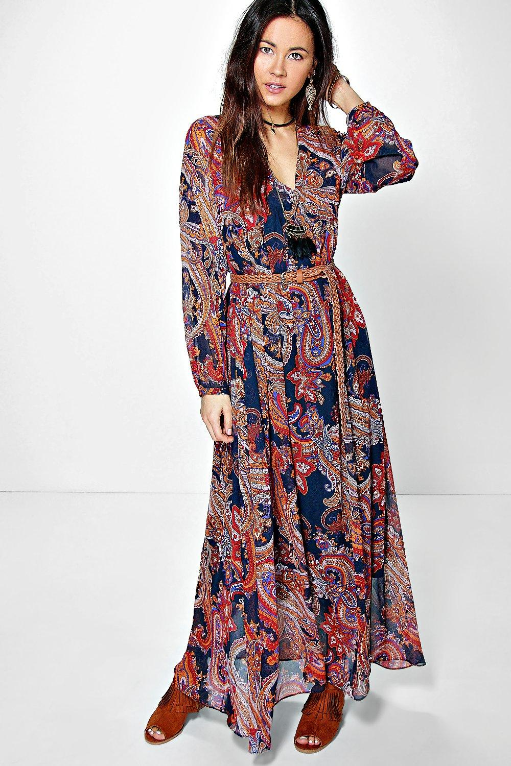 Adine Paisley Smock Maxi Dress