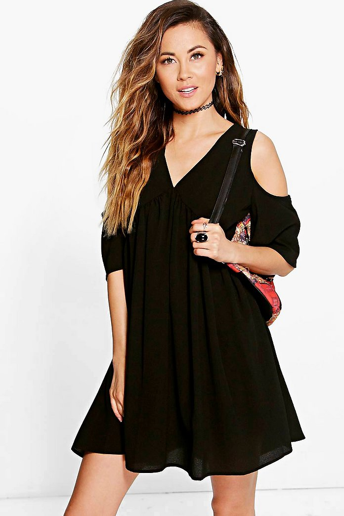 Lostrice Cold Shoulder Smock Dress