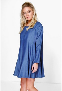 Dorice Tiered Chambray Smock Dress