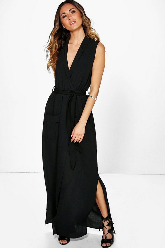 Madeline Sleeveless Belted Maxi Dress