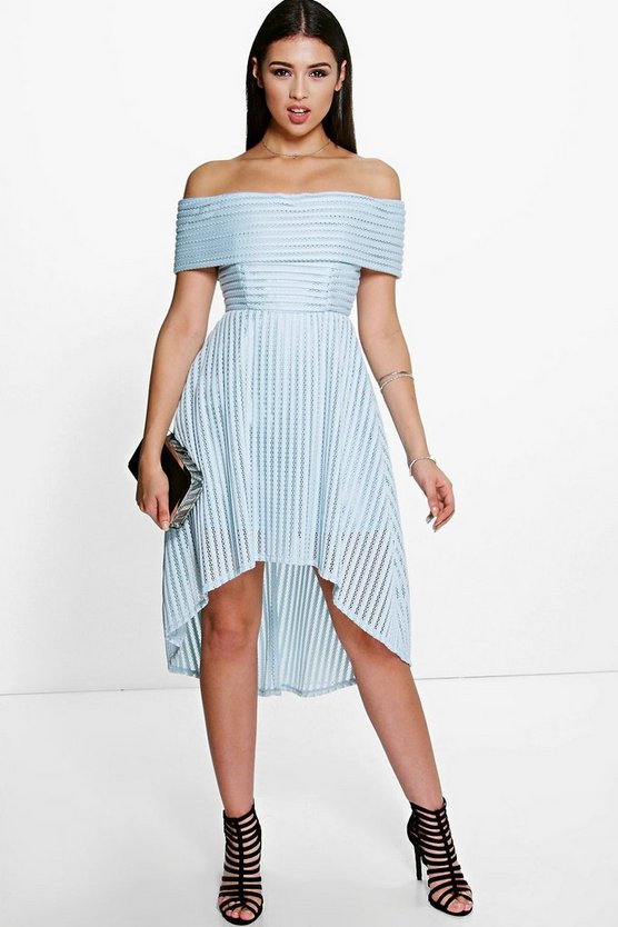 Missa Off The Shoulder Dip Hem Full Midi Dress