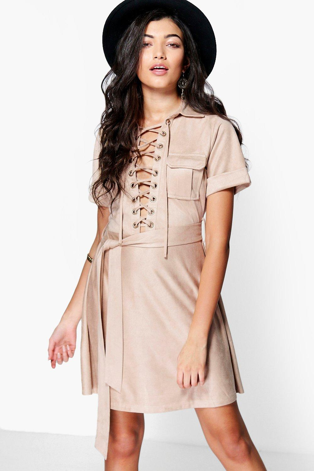 Boutique Ani Lace Up Suedette Belted Dress