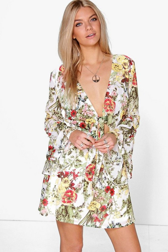 Boutique Lara Long Flute Sleeve Floral Dress