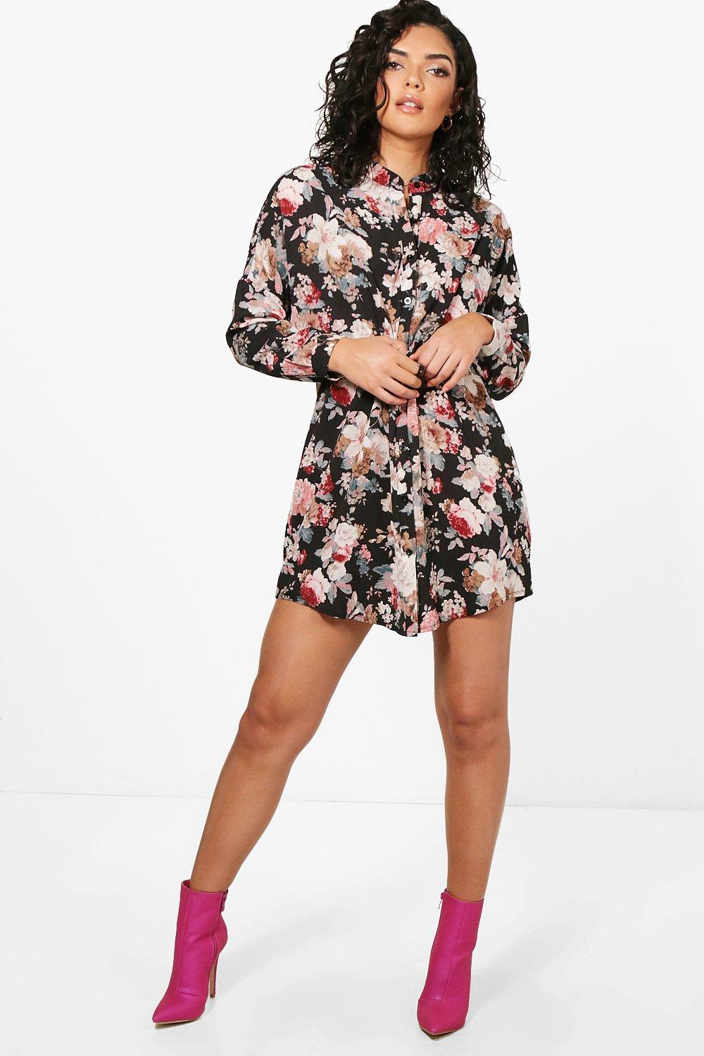 Lilith Floral Print Shirt Dress