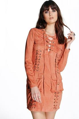 Boutique Liz Suedette Eyelet Pocket Detail Dress