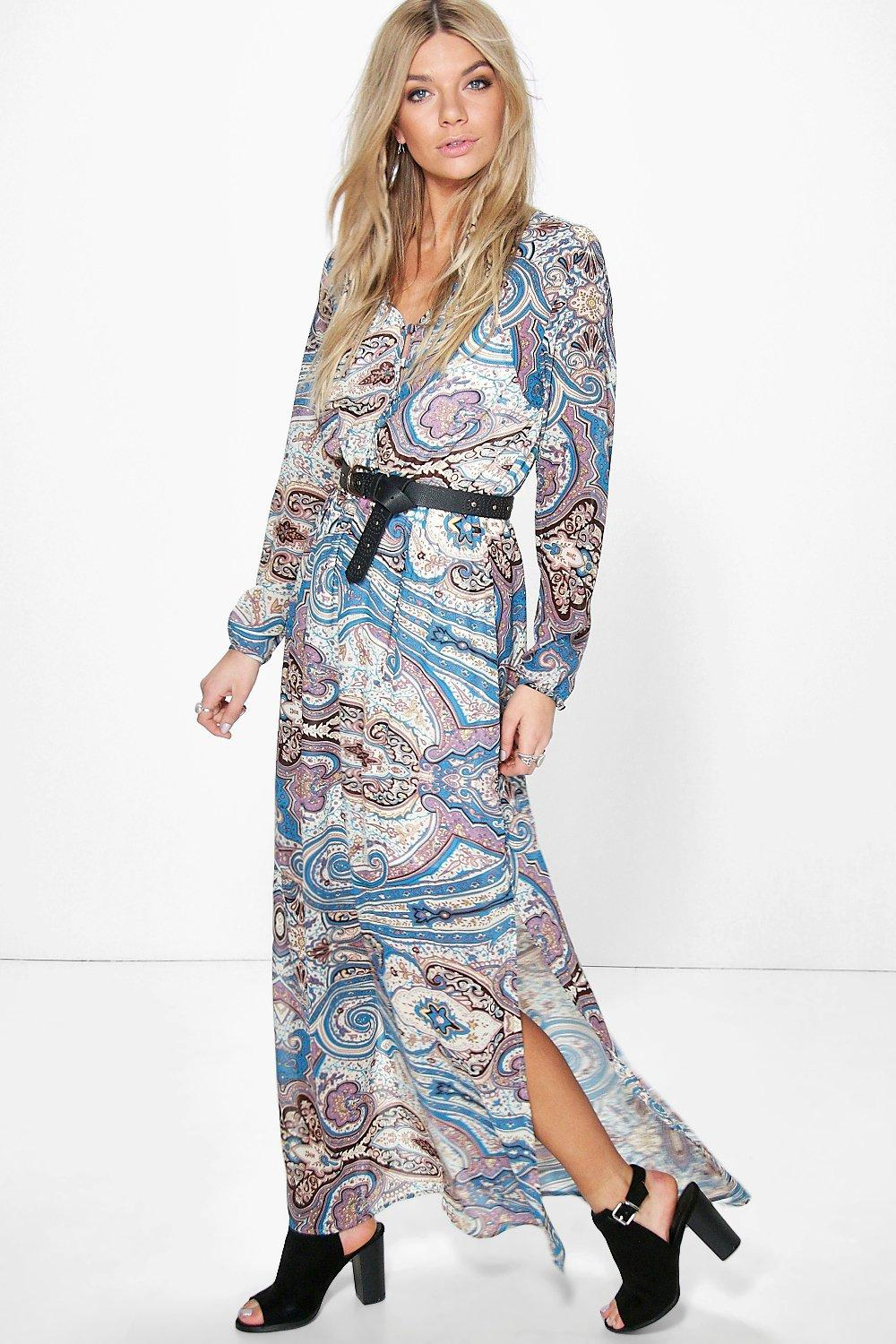 Selena Multi Paisley Cage Back Maxi Dress