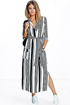 Becky Striped Maxi Shirt Dress
