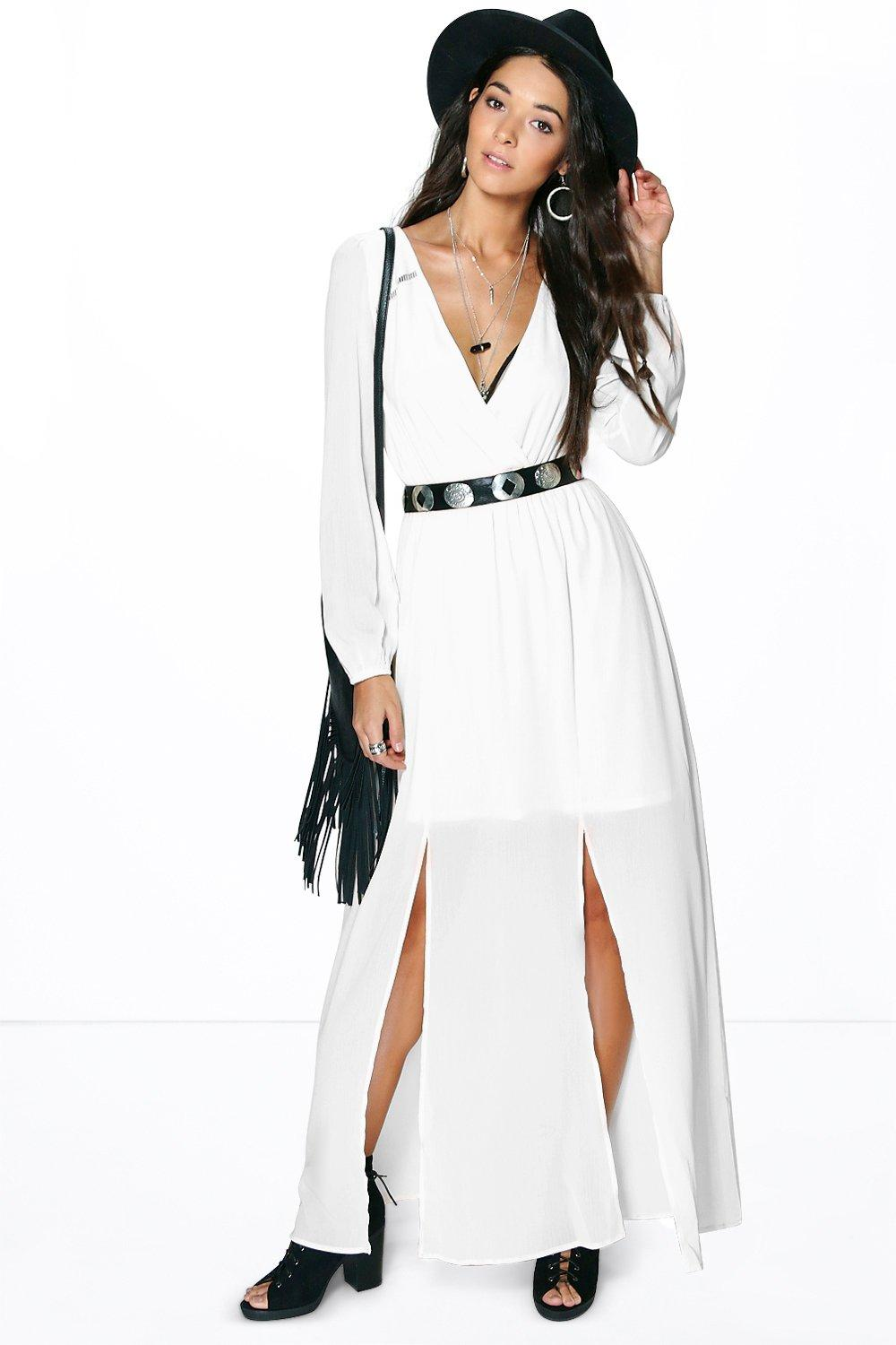 Andra Wrap Long Sleeve Woven Maxi Dress