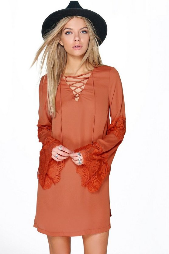 Miriam Lace Up Lace Insert Swing Dress