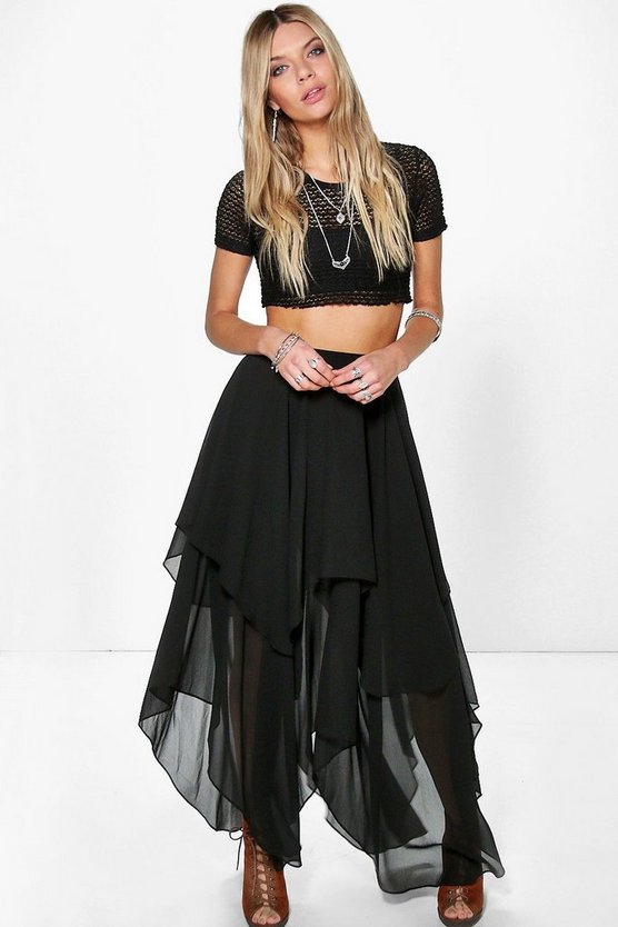 Aria Ruffle Hem High Low Maxi Skirt