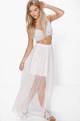 Atara Mesh Crochet Lace Trim Maxi Skirt