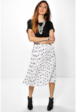 Azure Star Print Pleated Midi Skirt