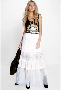 Havana Tiered Tulle & Lace Maxi Skirt
