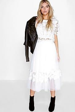Boutique Amelia Crochet Trim Tulle Skirt