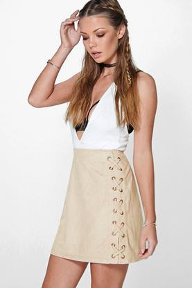 Suri Lace Up Side Faux Suede Skirt
