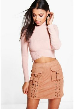 Nevada Pocket Front Faux Suede Mini Skirt