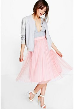 Madison Boutique Pleated Tulle Midi Skirt