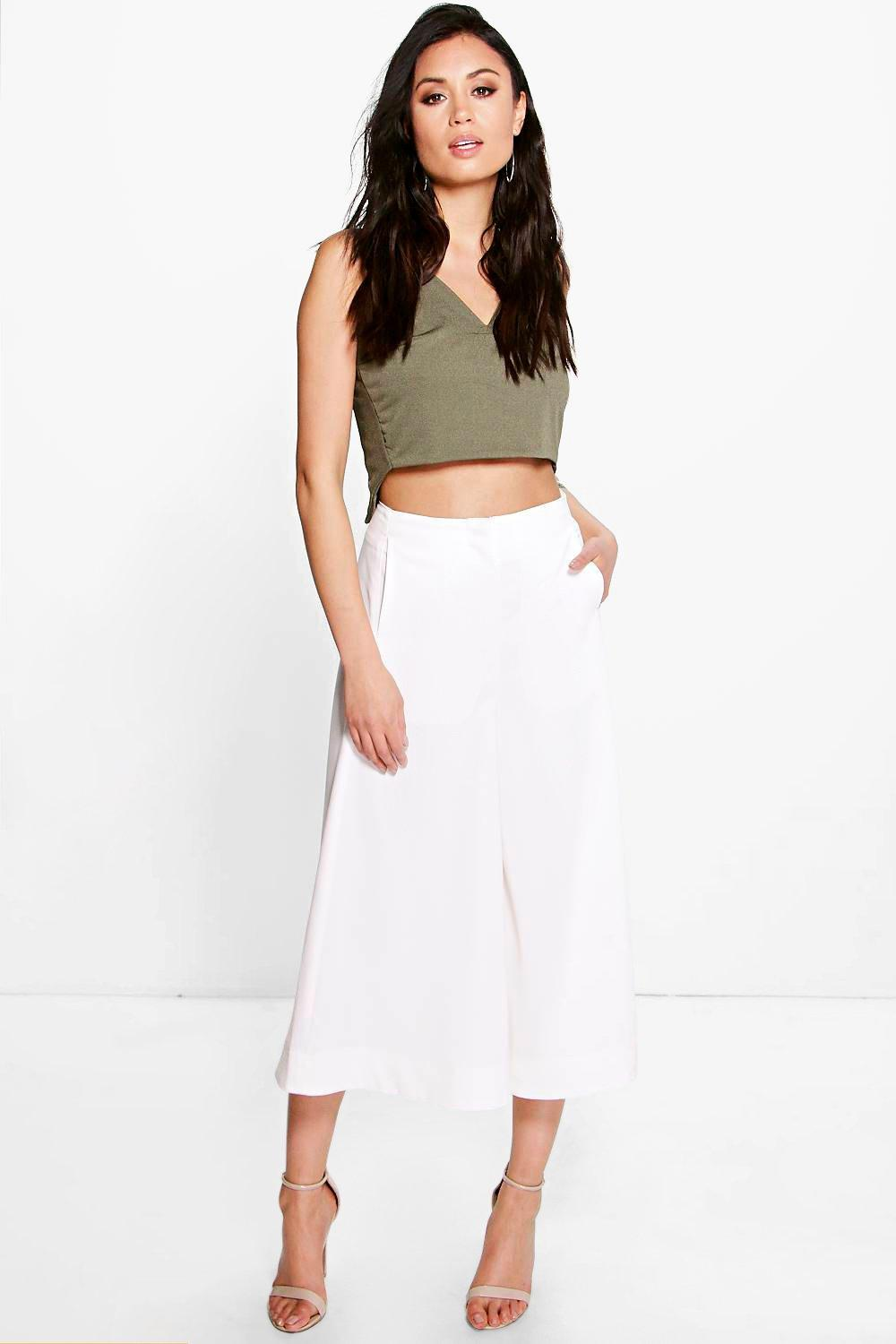 Indianna Wide Leg Cropped Tailored Trousers