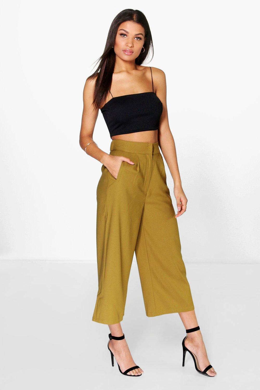 Maya Pocket Front Wide Leg Cropped Trousers