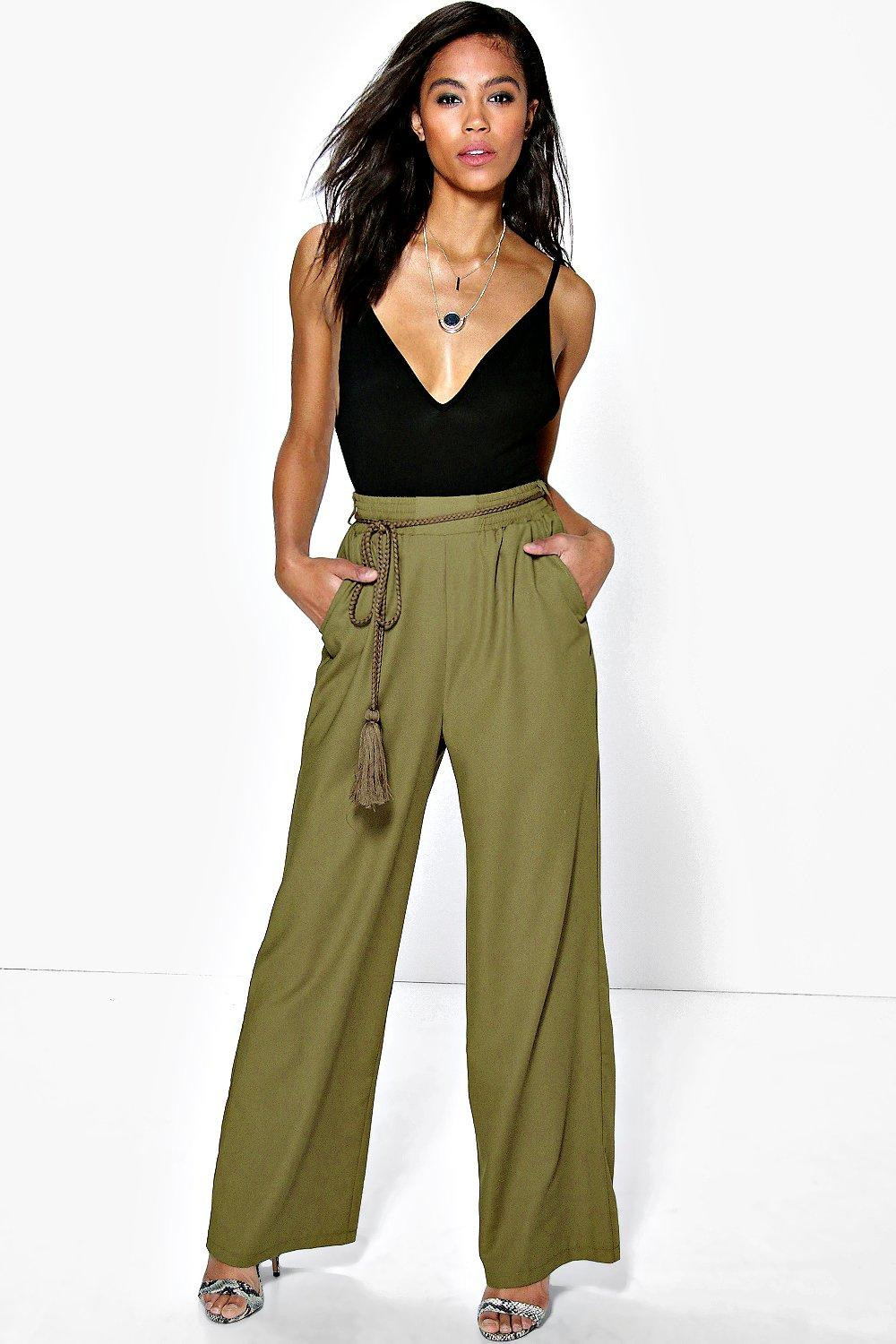 Suri Belted Wide Leg Tailored Trousers