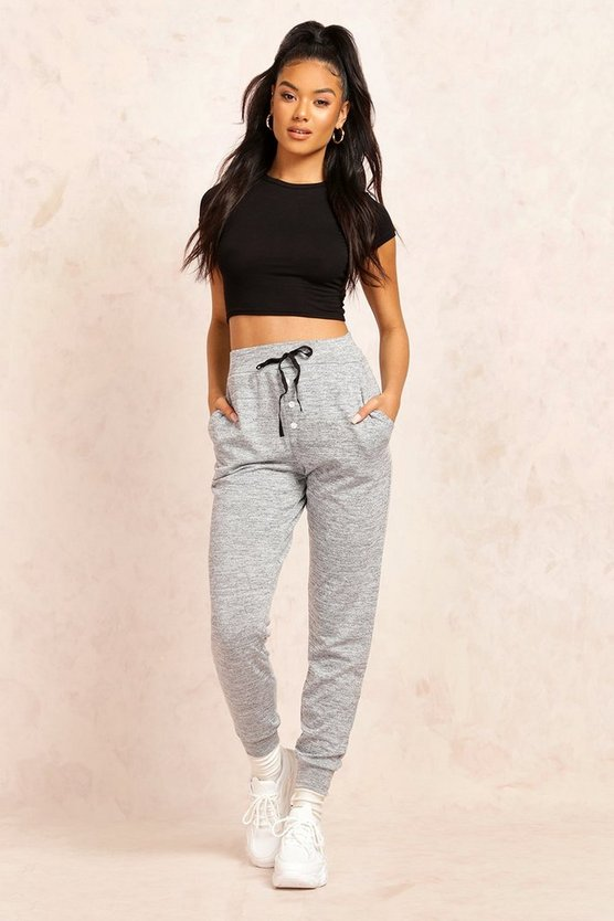Mireia Melange Button Front Relaxed Joggers