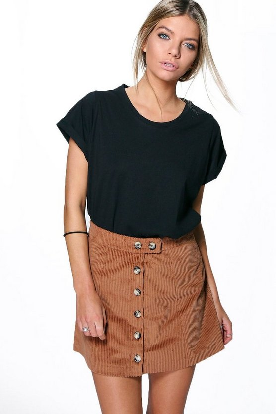 Liberty Button Front Jumbo Cord Mini Skirt