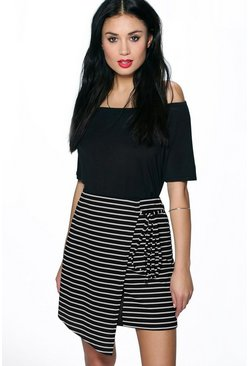 Veronica Striped Tie Side Mini Skirt