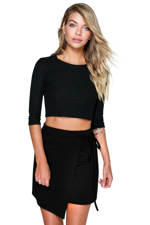 Tie Side Mini Skirt black